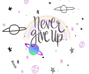 never give up, planet, and quotes image