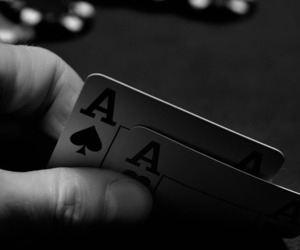 poker, black and white, and cards image