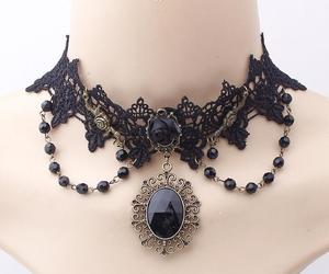 choker, gothic, and lace image
