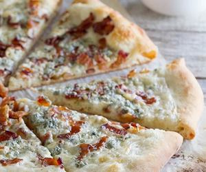 bacon, pizza, and blue cheese image