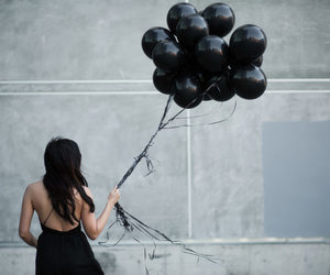 black, balloons, and aesthetic image