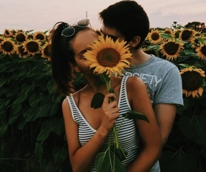 love, couple, and sunflower image