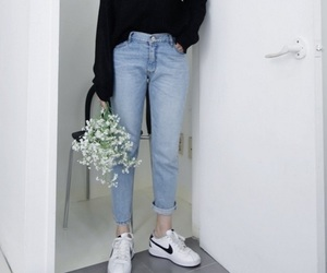 fashion, nike, and flowers image