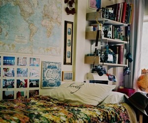 room, bedroom, and vintage image