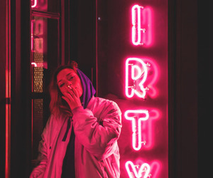 girl, neon, and pink image