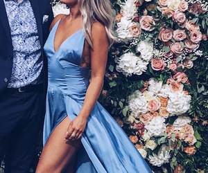 blue dress, satin, and side slit image