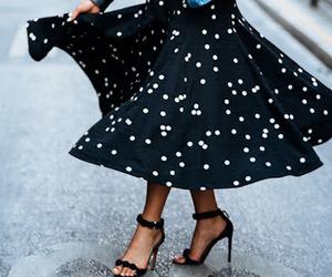 black dress, dots, and leather jacket image