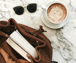 book, bag, and coffee image