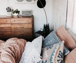 bed, design, and pillows image