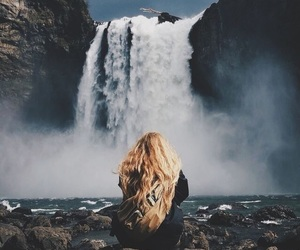 girl, waterfall, and nature image