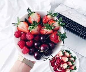 fruit, strawberry, and cherry image