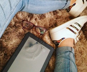 adidas, glasses, and jeans image