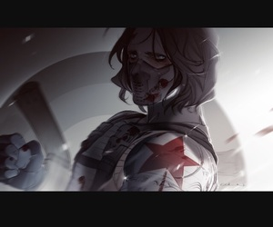 anime, red, and bucky barnes image