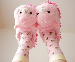 llama, pink, and slippers image
