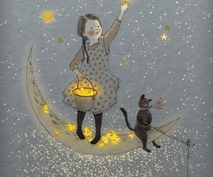 stars, cat, and moon image
