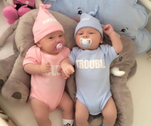 baby, blue, and twins image