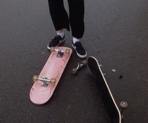 aesthetic, pink, and skateboard image