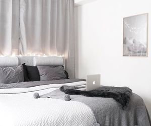 bedroom, black and white, and decor image