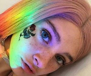 girl, rainbow, and rose image