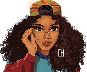 african american, curls, and glasses image
