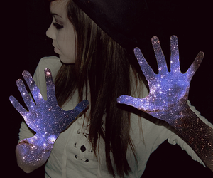 girl, galaxy, and hands image