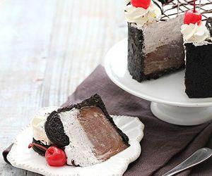 cake, cherries, and chocolate image