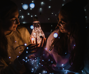 best friends, fairy lights, and friendship image
