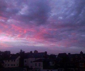 clouds, purple, and sunset image