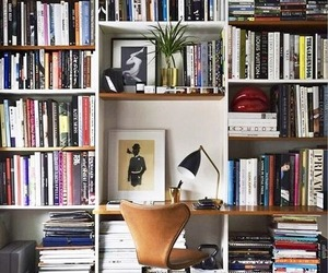 home decor, bookshelves, and home office image