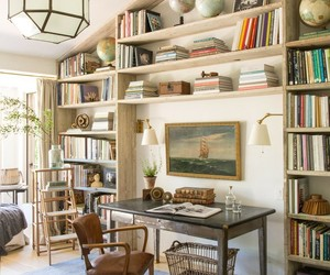 bookcases, cottage, and home decor image