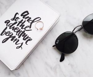 white, sunglasses, and black image