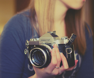 camera, girl, and hands image