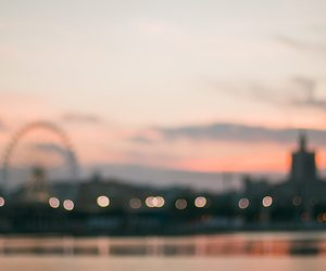 bokeh, city, and clouds image