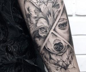 animal, girl, and linework image