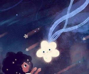magic, stars, and littlegirl image