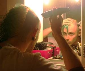 mirror, stretched ears, and green hair image