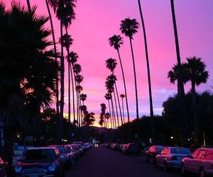 cars, sunset, and pink image