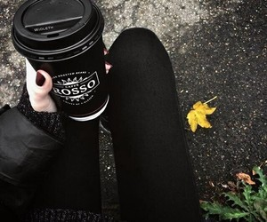 black, coffee, and girl image