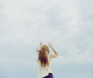 alone, girl, and blue sky image