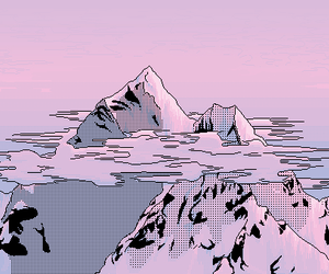 pink, mountains, and art image