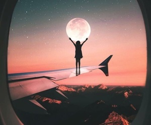 moon, airplane, and plane image