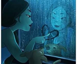art, dog, and rain image