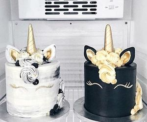 cake, unicorn, and black image