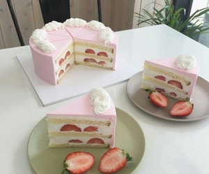 cake, pink, and strawberry image