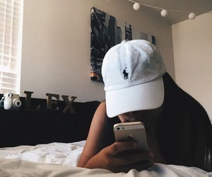 girl, iphone, and cap image