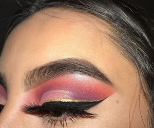 eye makeup, gold, and lashes image