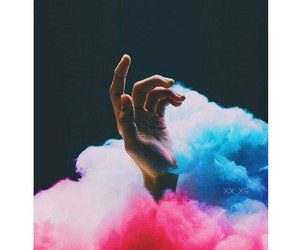 hand, blue, and pink image