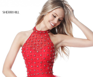 red homecoming dress, sherri hill 51559, and beaded tiered tulle dress image
