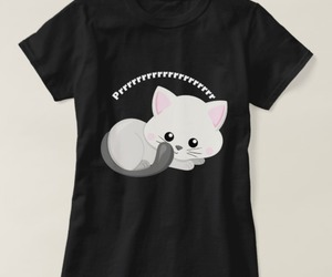 graphic tee, shirts, and kitten print image