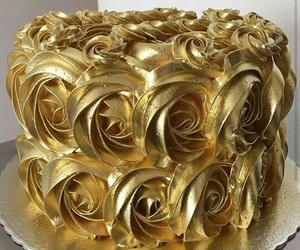 cake, gold, and sweet image